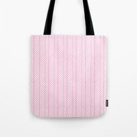 Herringbone Pink Tote Bag