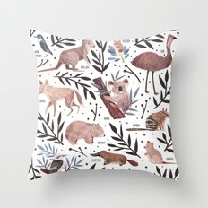 Animals of Australia Field Guide Throw Pillow