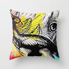 Peacock Graffiti Throw Pillow