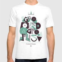 Crooked Typography Mens Fitted Tee White SMALL