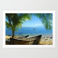 Boats At Las Caletas Art Print