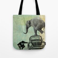 Looking for Tiny, Elephant on a VW beetle Tote Bag