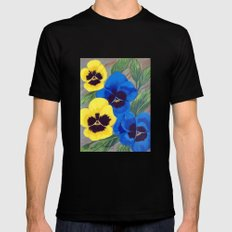 Pansies Black Mens Fitted Tee SMALL