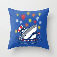 The Patriotic Shark Throw Pillow
