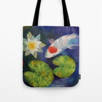Tancho Koi and Water Lily Tote Bag