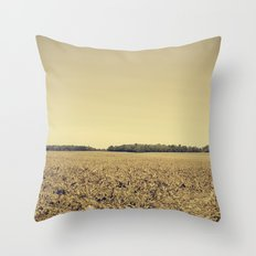 Lonely Field in Brown Throw Pillow