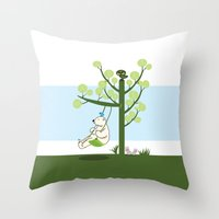 Polar bear play a swing Throw Pillow