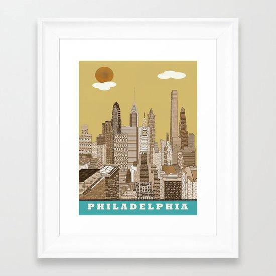 Philadelphia skyline vintage Framed Art Print