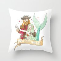 Valentine Mermaid and Pirate Throw Pillow