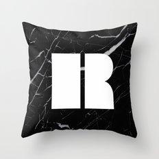 Black Marble - Alphabet R Throw Pillow