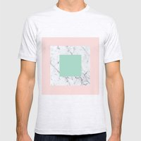 Marble With Pastels /// … Mens Fitted Tee Ash Grey SMALL