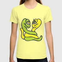 A Worm Affair Womens Fitted Tee Lemon SMALL