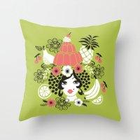 Jelly Miranda - Green Throw Pillow