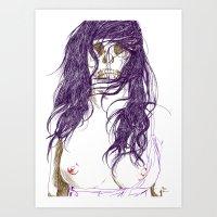 Give us a kiss (bw) Art Print