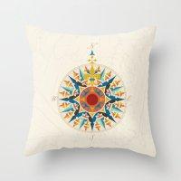 Rose Compass  Throw Pillow
