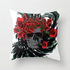 Roses Skull Throw Pillow