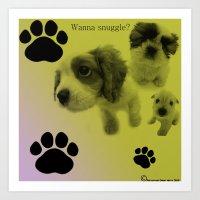 Puppy Snuggle Pillow Art Print