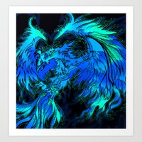 Blue Phoenix Art Print