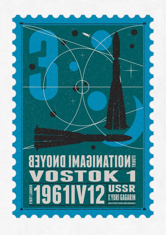 Beyond imagination: Vostok 1 postage stamp  Art Print