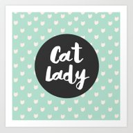 Cat Lady - Mint Cat Patt… Art Print