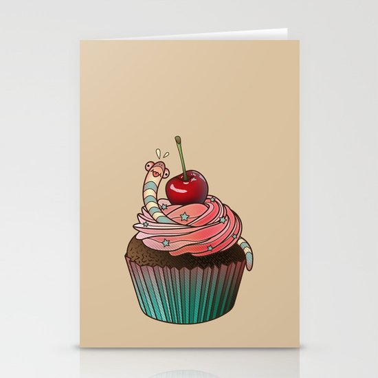 SWEET WORMS 1 - cupcake Stationery Card
