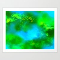 Cosmic Clouds In Green and Blue Art Print