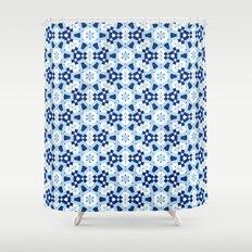 Blue Geometry Watercolor Mosaic Seamless Pattern Shower Curtain