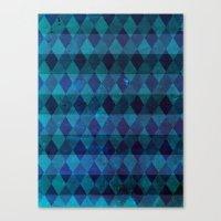 Diamond Stripes (blue) Canvas Print
