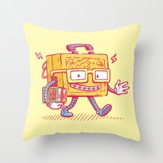 Back to School Lunchpail Bot Throw Pillow