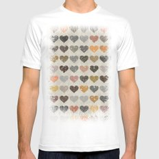 Hearts White Mens Fitted Tee SMALL