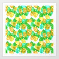 Watercolor Pineapples Tropic Art Print