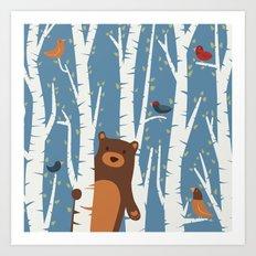 Bear and Birches Art Print