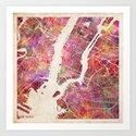 New York Map Watercolor Art Print