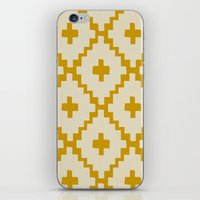 Navajo Diamonds Ivory on Gold iPhone & iPod Skin