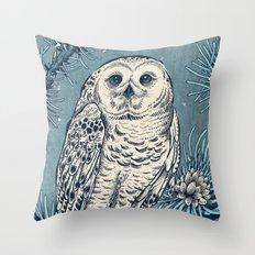 Winter Snowy Owl Throw Pillow