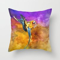 Dazzling Macaw Throw Pillow