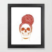Skull Girl 2 / Burnt Bronze Framed Art Print