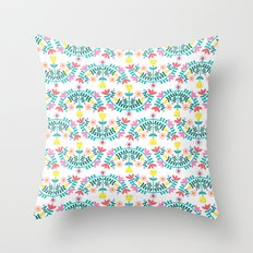 Folk Flowers White Throw Pillow