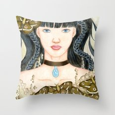 Moth Girl Throw Pillow