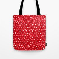 White stars abstract on bold red background illustration Tote Bag