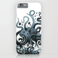 iPhone & iPod Case featuring Octoworm (blue version) by Exit Man
