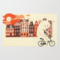 Happy Ghost Biking Through Amsterdam Rug
