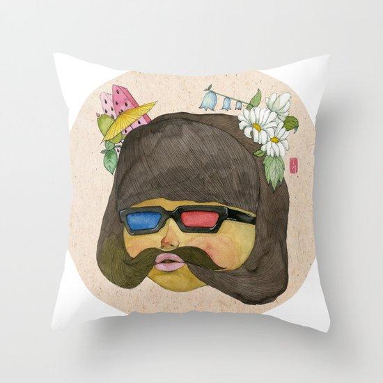 Girlstache Throw Pillow