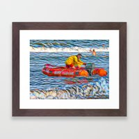 Abstract Surf rescue boat in action Framed Art Print