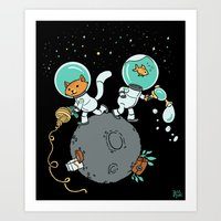 Space Kitty and Captain Fish Art Print