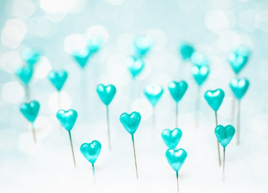 Turquoise hearts Art Print