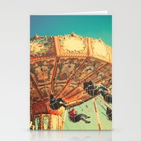 Vintage Chain Swing Ride on Blue Sky  Stationery Cards