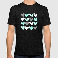 Mint white grey grunge hearts Mens Fitted Tee Tri-Black SMALL