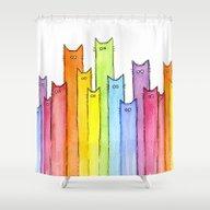 Cat Rainbow Watercolor P… Shower Curtain