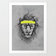 Art Print featuring Hipster Lion by Balazs Solti